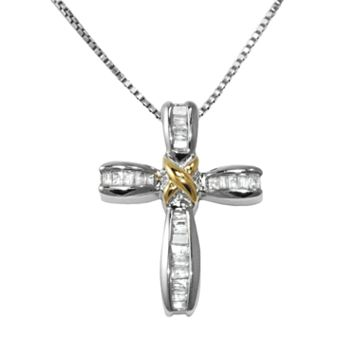 Sterling Silver 1/4-ct. T.W. Diamond Cross Pendant
