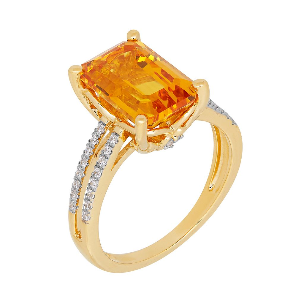 David Tutera 14k Gold Over Silver Simulated Citrine & Cubic Zirconia Ring