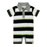 Baby Boy Burt's Bees Baby Organic Striped Polo Romper