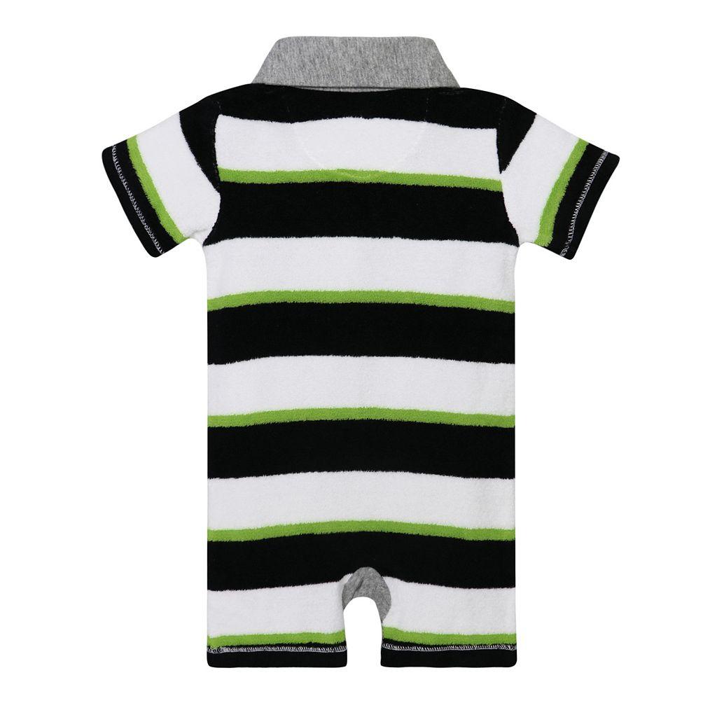 Baby Boy Burt's Bees Baby Organic Striped Polo Romper