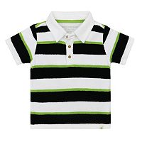 Toddler Boy Burt's Bees Baby Knit French Terry Striped Polo Shirt