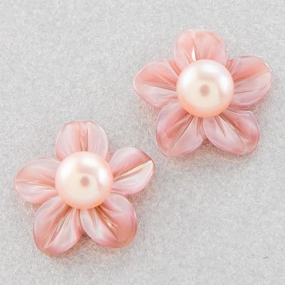 14k Gold Dyed Freshwater Cultured Pearl Floral Earrings