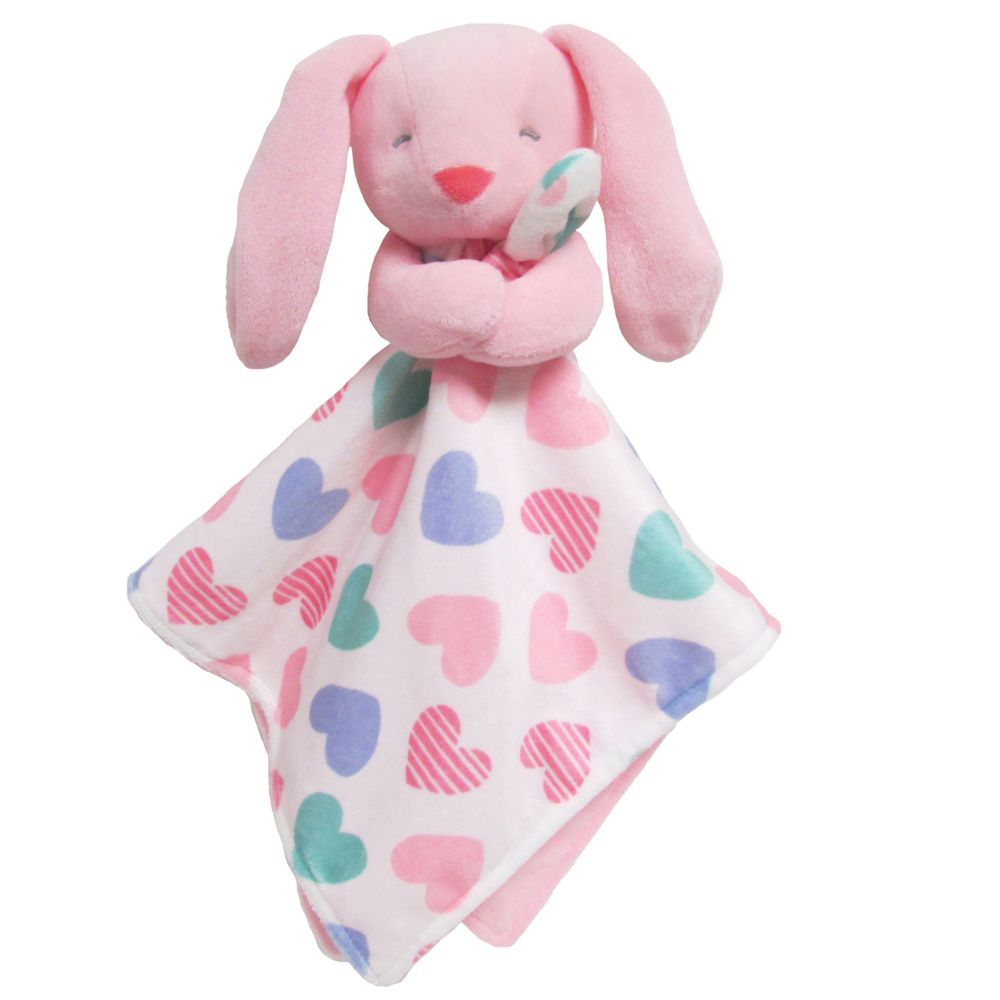 Carter S Bunny With Hearts Plush Security Blanket