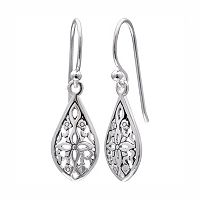 PRIMROSE Sterling Silver Filigree Flower Teardrop Earrings