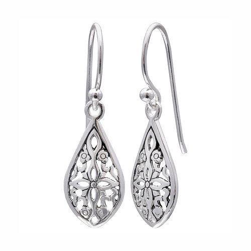 PRIMROSE Sterling Silver Filigree Flower Teardrop Earrings