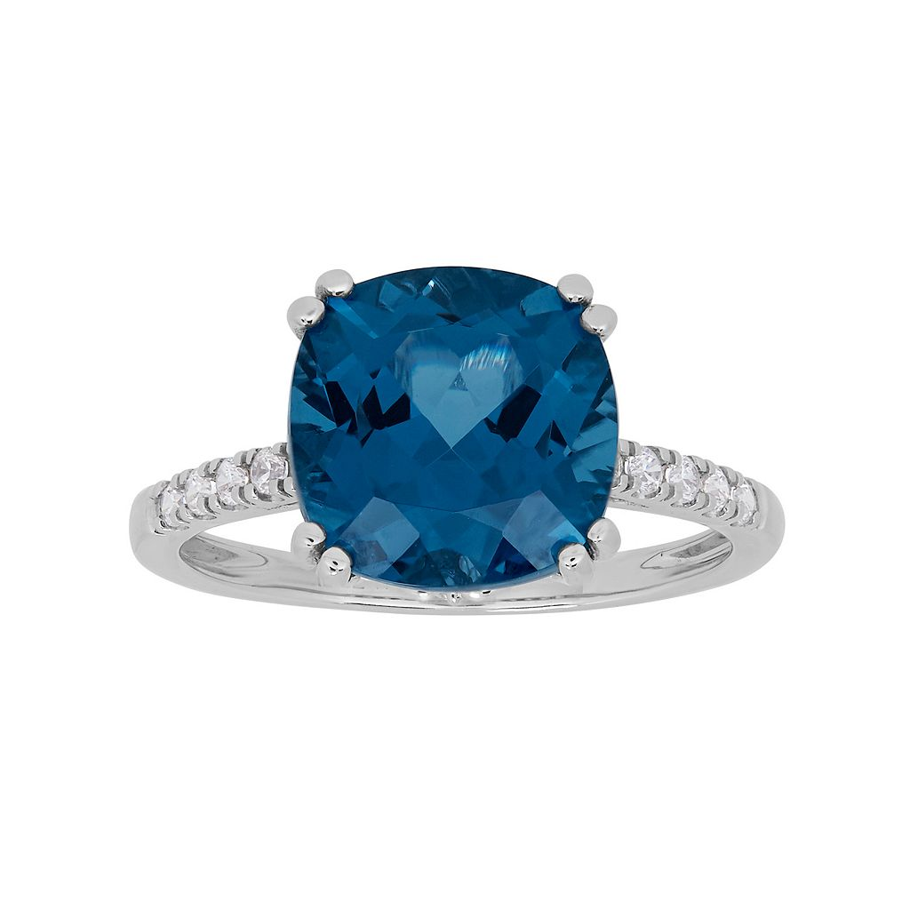 David Tutera Sterling Silver Simulated Blue Topaz & Cubic Zirconia Ring