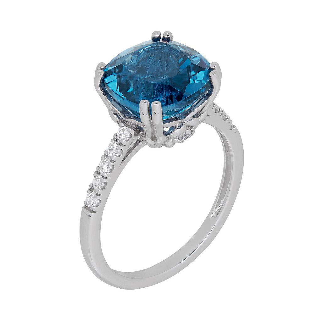 David Tutera Sterling Silver Simulated Blue Topaz & Cubic Zirconia Ring
