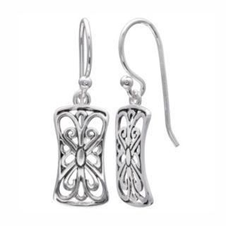 PRIMROSE Sterling Silver Filigree Butterfly Rectangle Drop Earrings