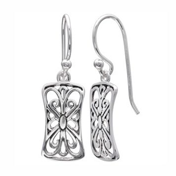 PRIMROSE Sterling Silver Filigree Butterfly Rectangle Drop Earrings