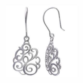 PRIMROSE Sterling Silver Filigree Swirl Drop Earrings