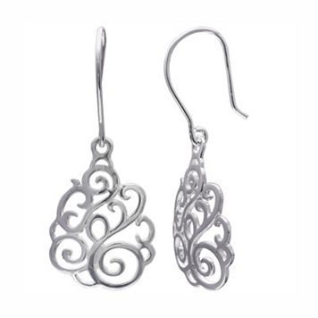 PRIMROSE Sterling Silver Filigree Swirl Drop Earrings