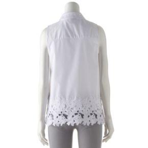 Women's Dana Buchman Lace-Hem Sleeveless Shirt