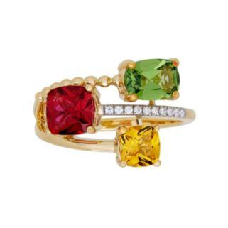 David Tutera 14k Gold Over Silver Simulated Gemstone & Cubic Zirconia Ring