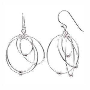 PRIMROSE Sterling Silver Interlocking Hoop Drop Earrings
