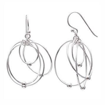 PRIMROSE Sterling Silver Interlocking Hoop Drop Earrings