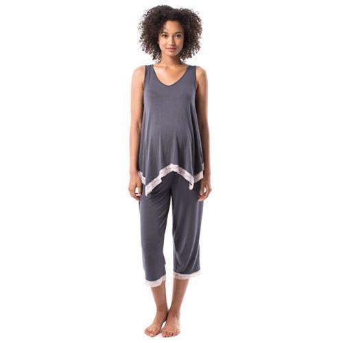 Maternity Pip & Vine Handkerchief Tank & Capri Sleep Set