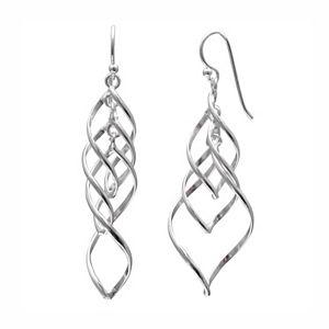 PRIMROSE Sterling Silver Corkscrew Drop Earrings