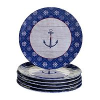 Certified International Nautique 6 pc Dinner Plate Set