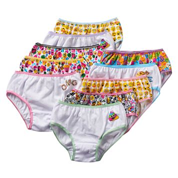 Girls 6-10 10-pk. Emoji Icon Briefs