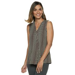87708126 Women's Dana Buchman Pleated V-Neck Tank
