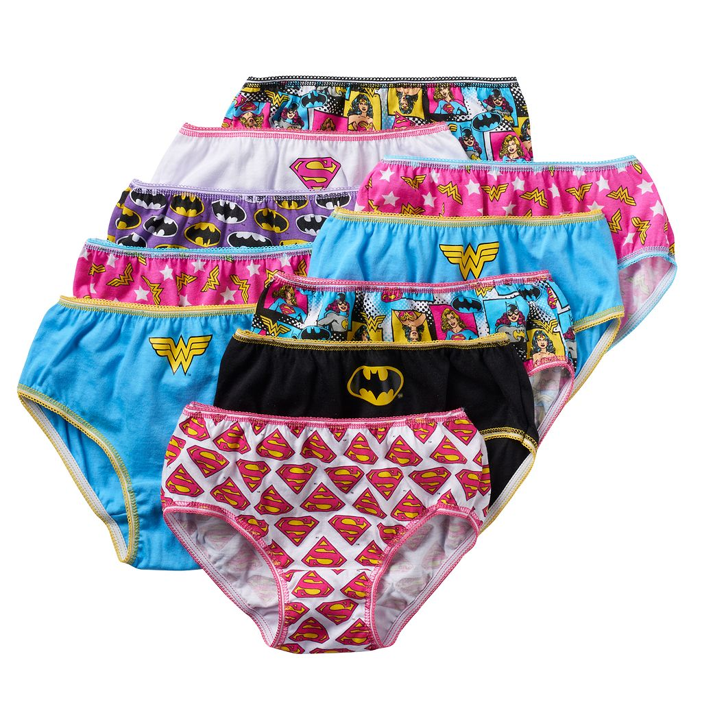 Girls 4-8 10-pk. DC Comics Superman, Batman & Wonder Woman Briefs