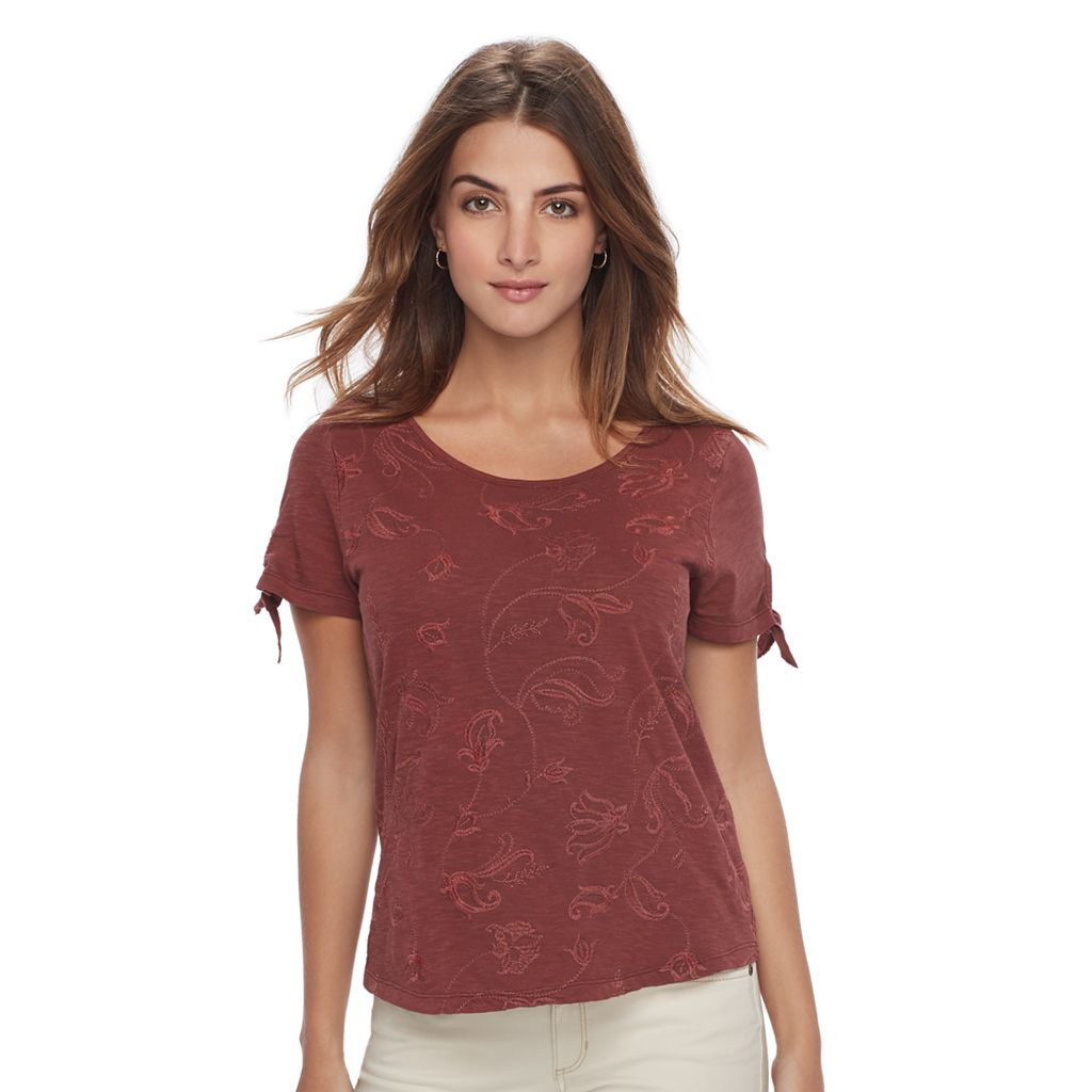 Petite SONOMA Goods for Life™ Embroidered Tie-Sleeve Tee