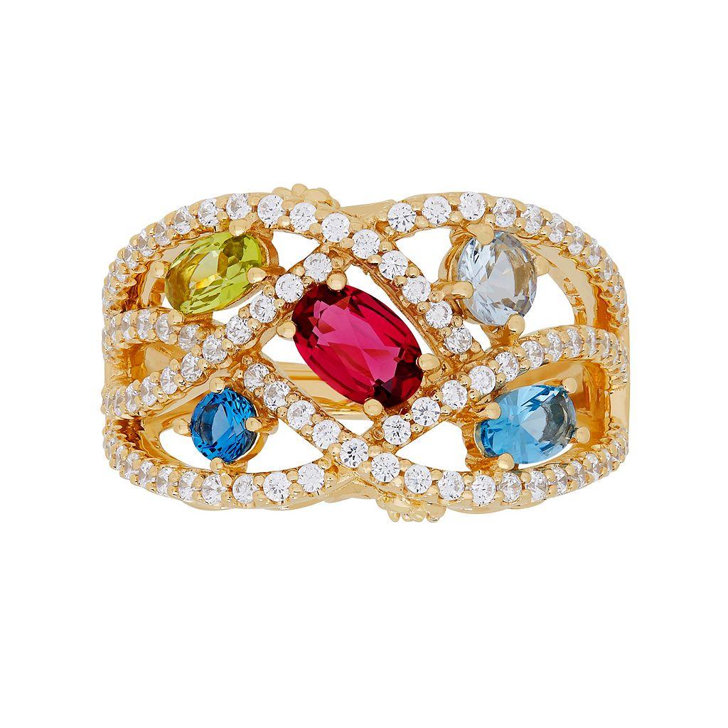 David Tutera 14k Gold Over Silver Simulated Gemstone & Cubic Zirconia Woven Ring
