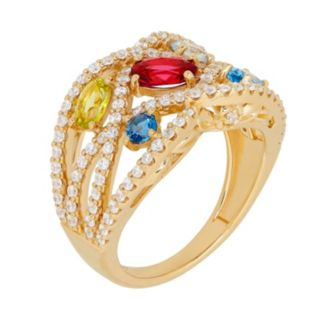 David Tutera 14k Gold Over Silver Simulated Gemstone & Cubic Zirconia Woven Ring