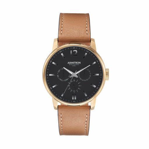 Armitron Men's Leather watch - 20/5217BKGPTN