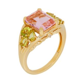 David Tutera 14k Gold Over Silver Simulated Pink Tourmaline & Simulated Peridot Ring