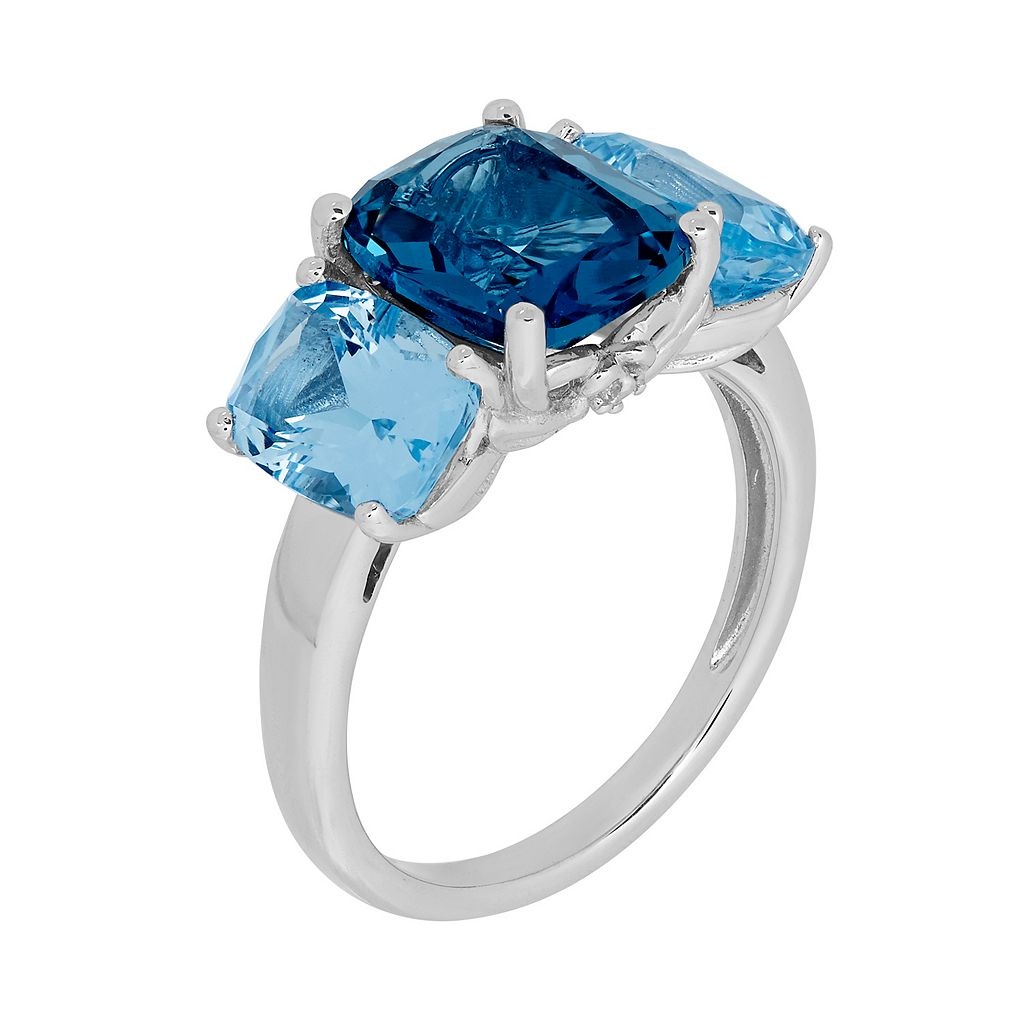 David Tutera Sterling Silver Simulated Blue Topaz 3 Stone Ring