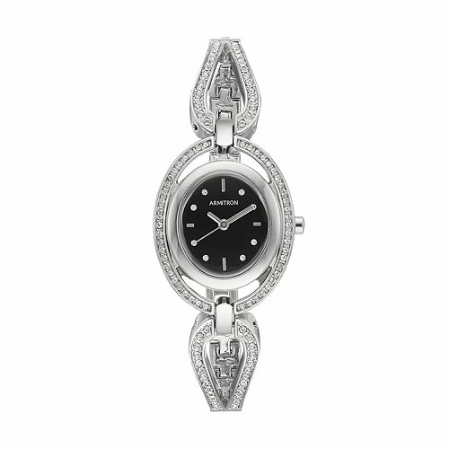 Armitron Women's Crystal Half Bangle Watch - 75/5473BKSV