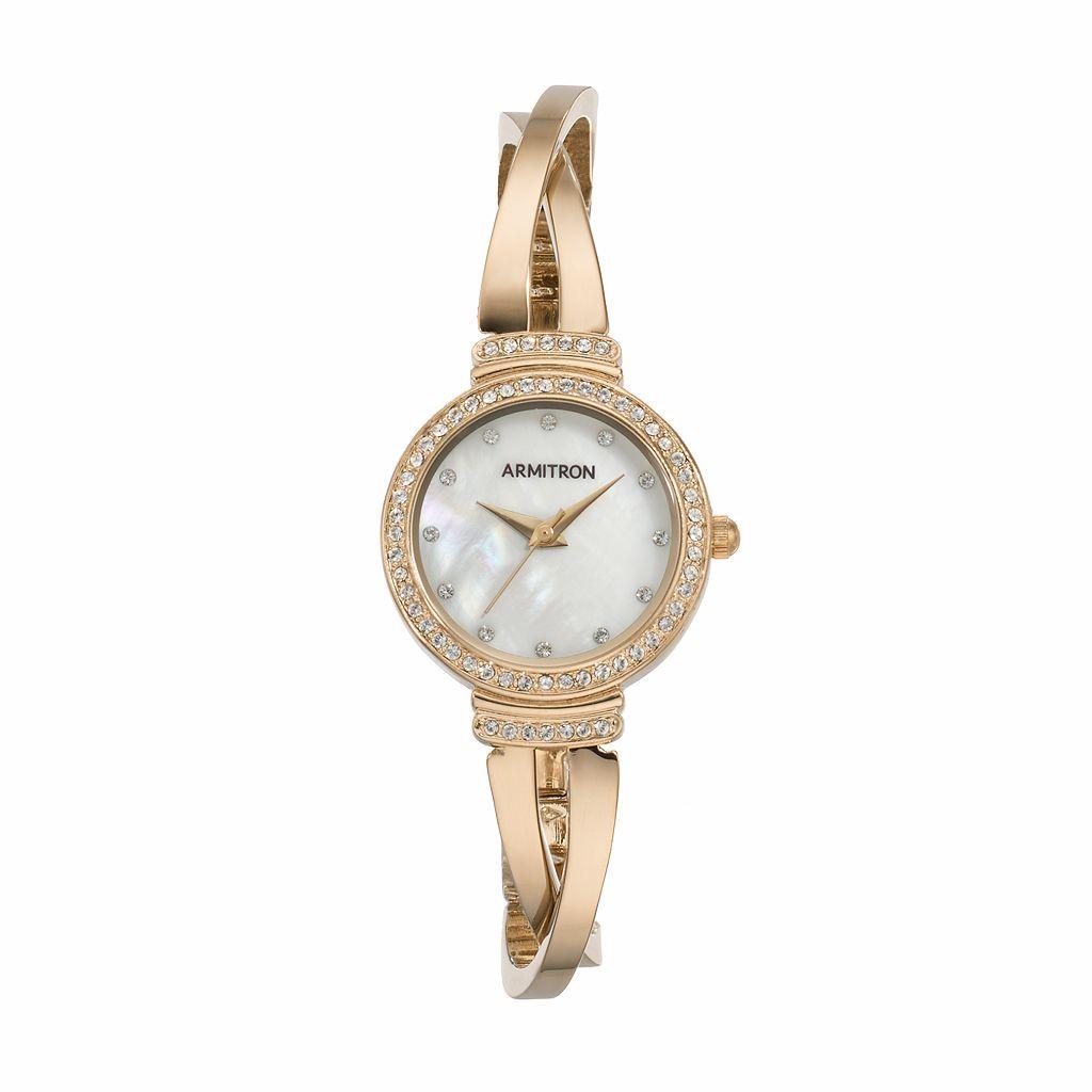 Armitron Women's Crystal Crisscross Half Bangle Watch - 75/5474MPGP