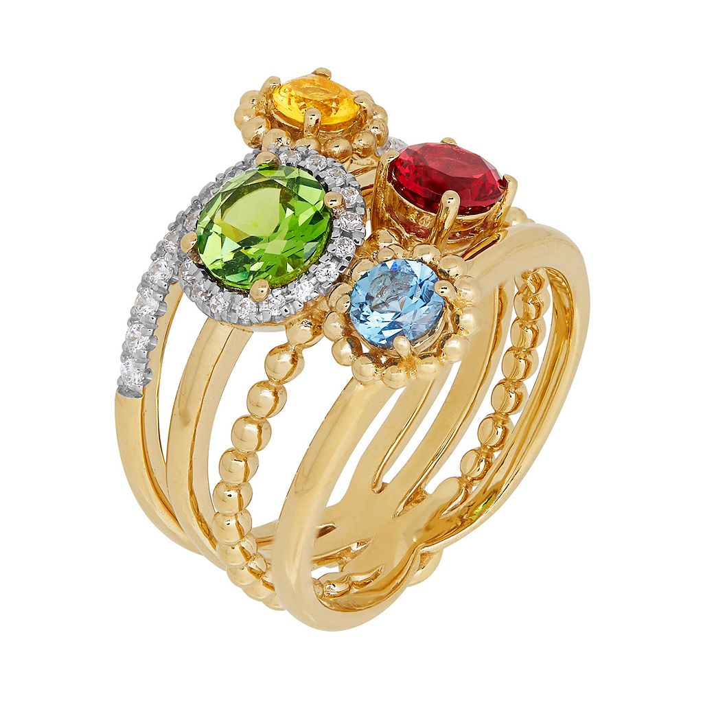 David Tutera 14k Gold Over Silver Simulated Gemstone & Cubic Zirconia Ring