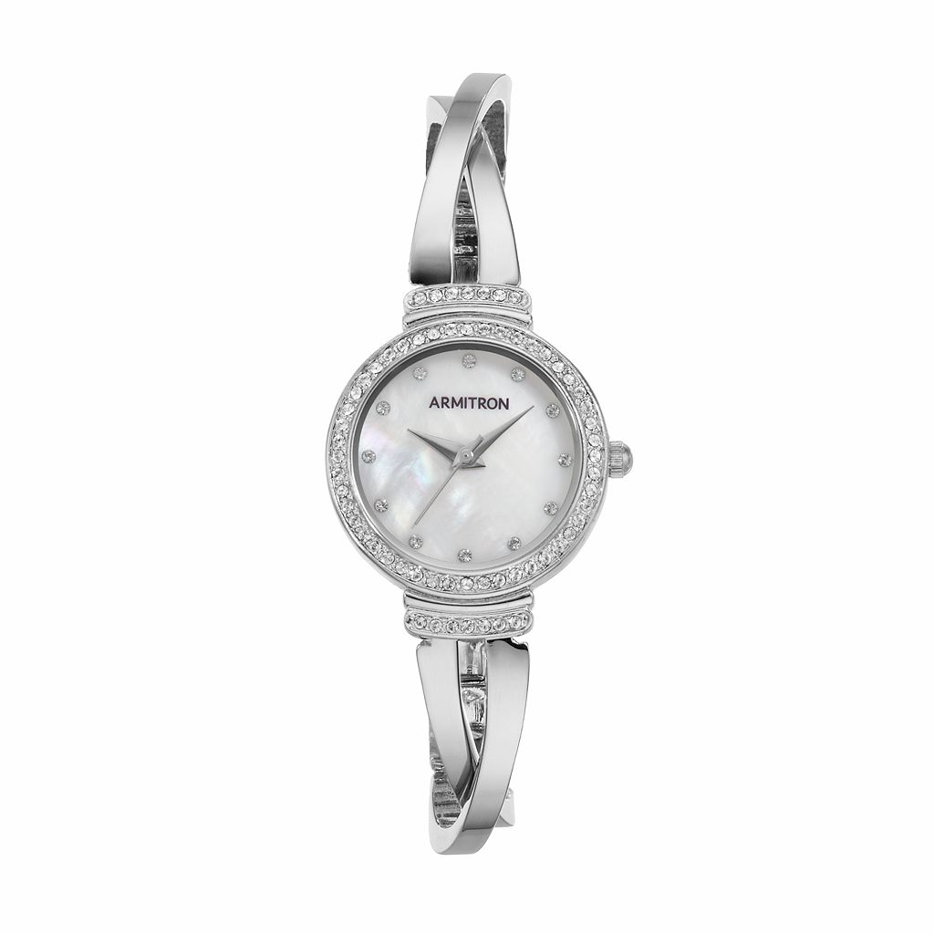 Armitron Women's Crystal Crisscross Half Bangle Watch - 75/5474MPSV