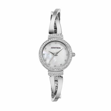 Armitron Women's Crystal Crisscross Half Bangle Watch - 75/5474MPSV
