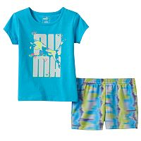 Baby Girl PUMA Glittery Graphic Tee & Tie-Dye Shorts Set