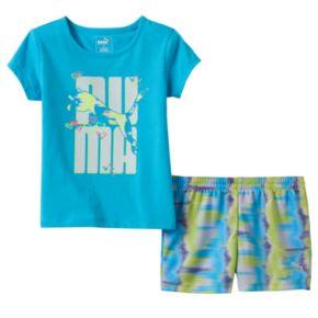 Baby Girl PUMA Glittery Graphic Tee & Tie-Dye Shorts Set