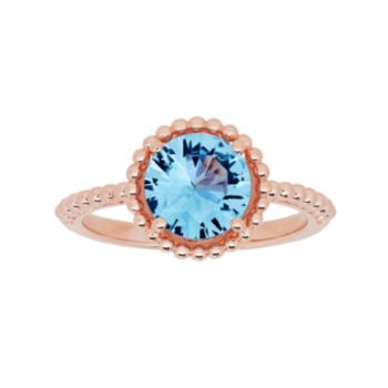 David Tutera 14k Rose Gold Over Silver Simulated Blue Topaz Ring
