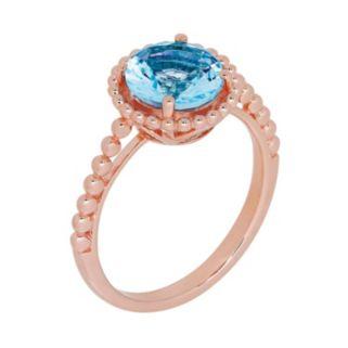 David Tutera 14k Rose Gold Over Silver Simulated Blue Topaz Ring