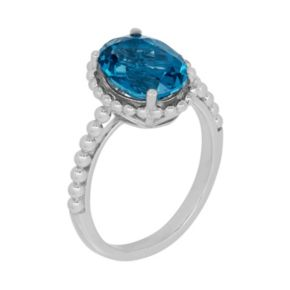 David Tutera Sterling Silver Simulated Blue Topaz Oval Ring