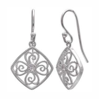 PRIMROSE Sterling Silver Cubic Zirconia Filigree Square Drop Earrings