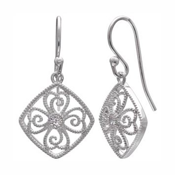 PRIMROSE Sterling Silver Cubic Zirconia Filigree Square Drop Earrings