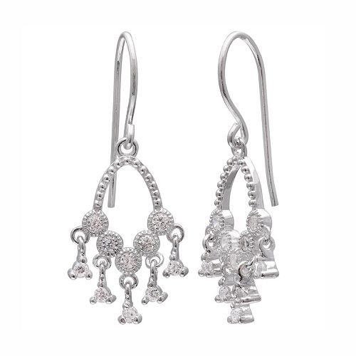 PRIMROSE Sterling Silver Cubic Zirconia Chandelier Earrings