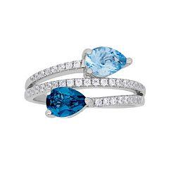 david tutera sterling silver simulated blue topaz cubic zirconia bypass ring - David Tutera Wedding Rings