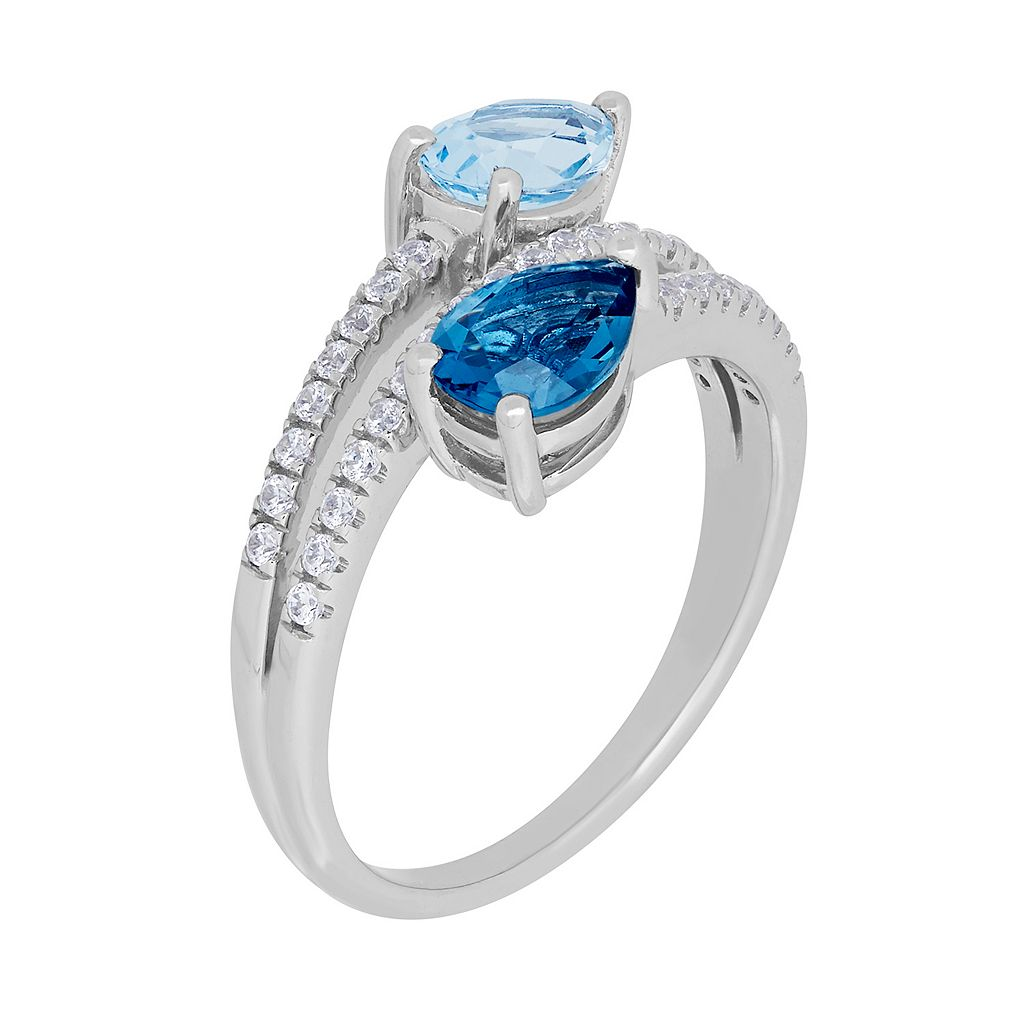 David Tutera Sterling Silver Simulated Blue Topaz & Cubic Zirconia Bypass Ring