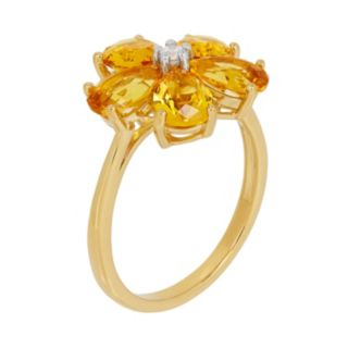 David Tutera 14k Gold Over Silver Simulated Citrine & Cubic Zirconia Flower Ring