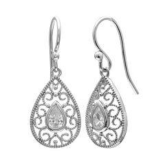 PRIMROSE Sterling Silver Cubic Zirconia Filigree Teardrop Earrings