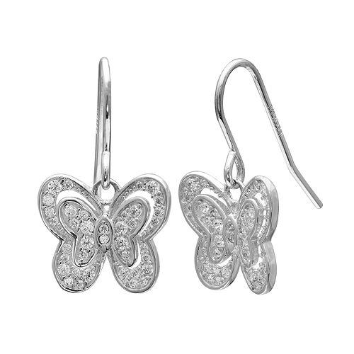 PRIMROSE Sterling Silver Cubic Zirconia Butterfly Drop Earrings