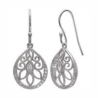 PRIMROSE Sterling Silver Cubic Zirconia Filigree Teardrop Earrings